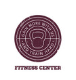 fitness center round logo badge emblem vector image vector image