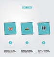 flat icons sun power landscape beauty insect vector image vector image