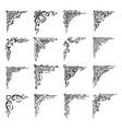 floral corners border frame flourish decorations vector image
