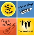 four musical logo for church and worship vector image vector image