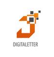 geometric digital pixel initial letter j logo vector image vector image