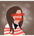 girls with eyes and mouth closed censor vector image