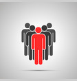 group people silhouette with red leader simple vector image vector image