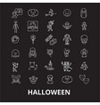 halloween editable line icons set on black vector image