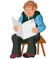 Happy cartoon man sitting in armchair in green vector image vector image