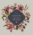 invitation card badge over lillies hand drawn vector image