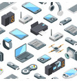 isometric gadgets icons pattern vector image vector image