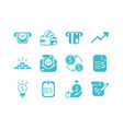 money business finance icons set color silhouette vector image vector image