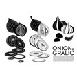 monochrome organic vegetables icons set vector image vector image