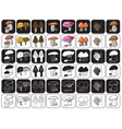 mushrooms icons on black and white vector image vector image