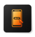 orange glowing mobile phone and shopping cart icon vector image vector image