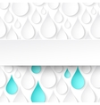 Paper water drops abstract background with banner vector image vector image