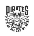pirate skull swords t-shirt print skeleton flag vector image vector image