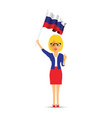russia flag waving woman vector image vector image