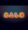 sale light sign with lamps discount letter retro vector image