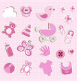 scrapbook set of baby girl things vector image vector image
