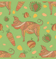 seamless pattern with pig veg and grain vector image