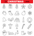 set of christmas line icons tree bell ball vector image vector image