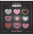 Set of valentine love hearts Chalk drawing vector image vector image
