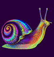 snail abstract multi-colored neon portrait vector image