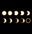 solar eclipse different phases vector image vector image