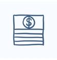 Stack of dollar bills sketch icon vector image