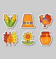 thanksgiving icon sticker set isolated vector image vector image