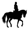 the black silhouette of horse and jockey vector image vector image