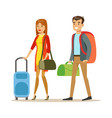 tourists couple with travel bags people traveling vector image vector image
