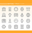watch simple black line icons set vector image vector image