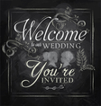 Wedding invitation chalk vector image vector image