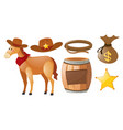 western cowboy set with horse and elements vector image