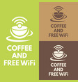 wifi zone sign with coffee cup vector image