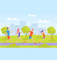 young man and woman running in park people vector image