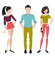 Young people in fashionable clothes Flat vector image vector image