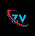 zv z v letter logo design initial letter zv vector image vector image