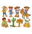 cowboy Wild West child cartoon vector image