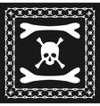 Skull and bones pattern brush with corner vector image