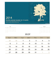 2014 calendar monthly calendar template for July vector image vector image
