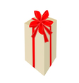 A Tall Gift Box with Red Ribbon vector image vector image