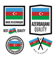 azerbaijan quality label set for goods vector image vector image
