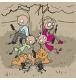 Big family under tree Everyone looks at phone vector image