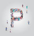 big people crowd gathering in shape letter p vector image vector image