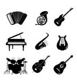 black and white music instruments icons vector image