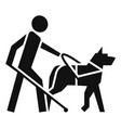 blind boy dog guide icon simple style vector image