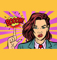 boom strong woman index finger up vector image vector image