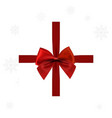 christmas card woth red ribbon vector image vector image