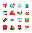 christmas sale new year clearance icon set vector image