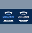 christmas text white ribbon set merry christmas vector image vector image