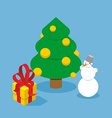 Christmas Tree and snowman Gift box Holiday tree vector image vector image